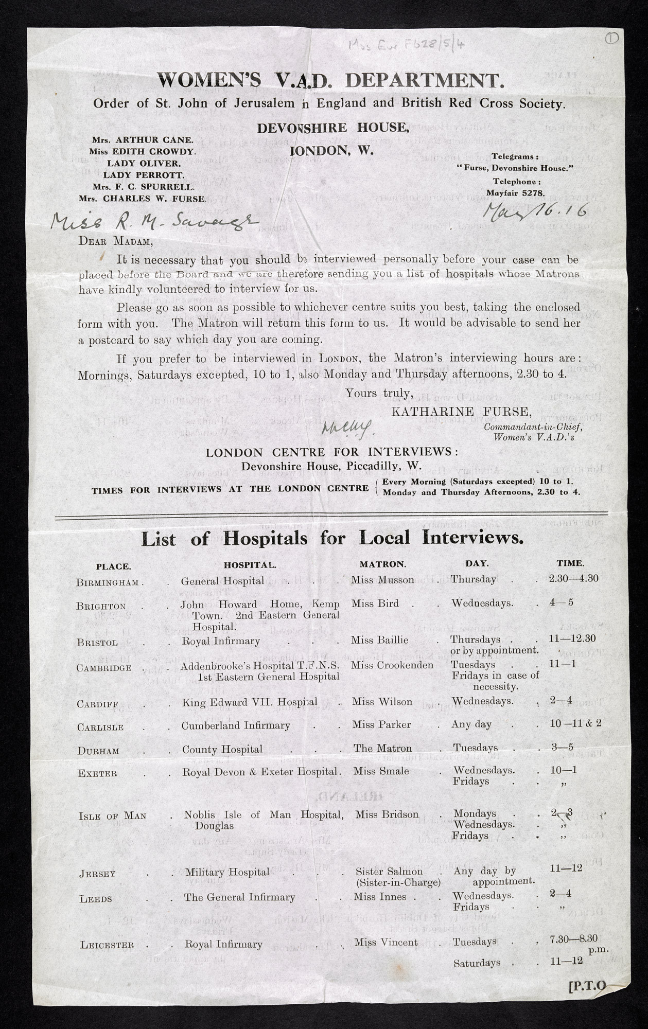 Documents of Rose Mary Savage. Invite to interview for VAD nursing.
