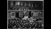 Photograph from Getty showing President Woodrow Wilson declaring war with Germany (in Congress)