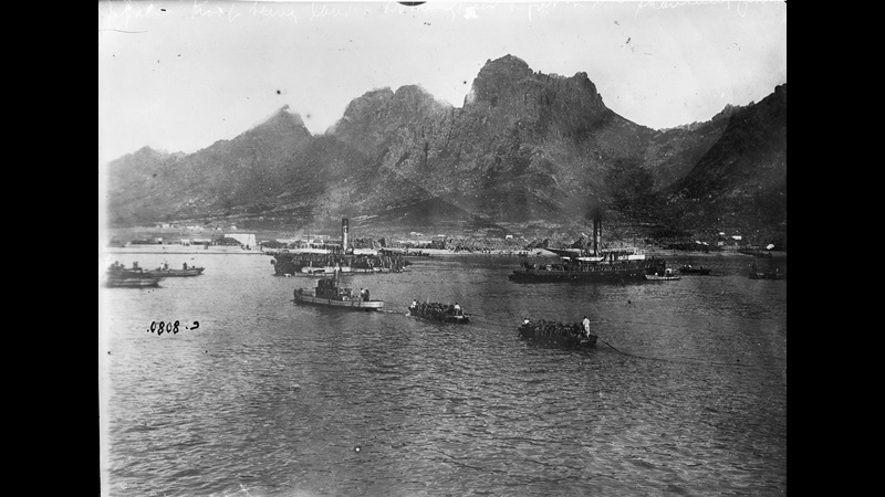 Photograph of landing of troops in bay of North China