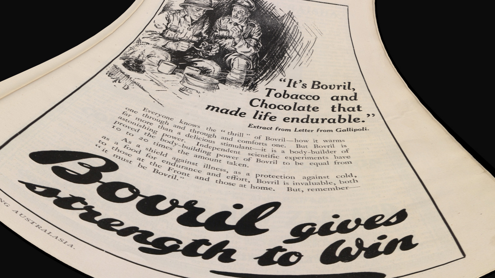 Teaching note image - WW1 advert for Bovril