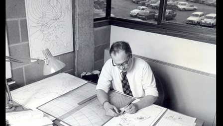John Kington working on historical weather charts, Climatic Research Unit, 1980