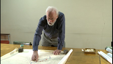 Alan Smith with his maps of the fit of the continents, 2012