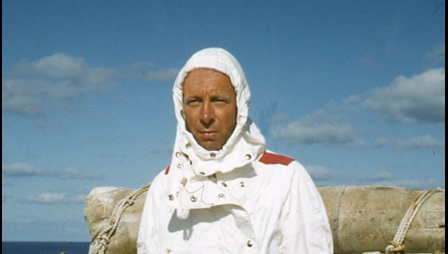 Frank Raynor, in protective suit, before re-entry aboard HMS Narvik, Operation Grapple, 1957
