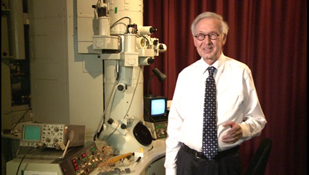 Colin Humphreys and electron microscope, 2013
