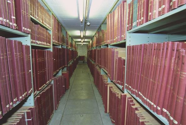 Bound volumes of newspapers at the Newspaper Library Colindale