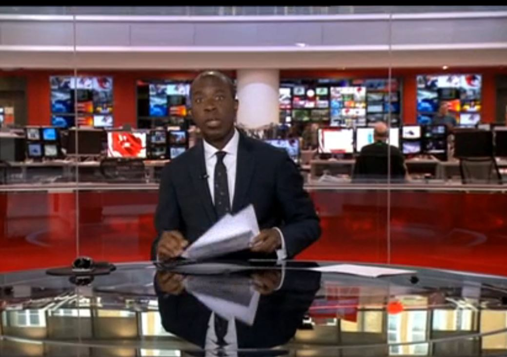 Clive Myrie presenting BBC News