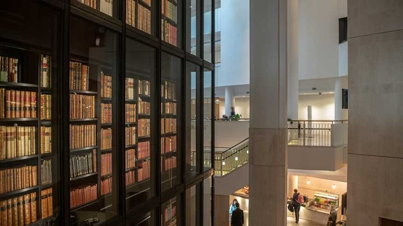 A view of the inside of the British Library at St Pancras