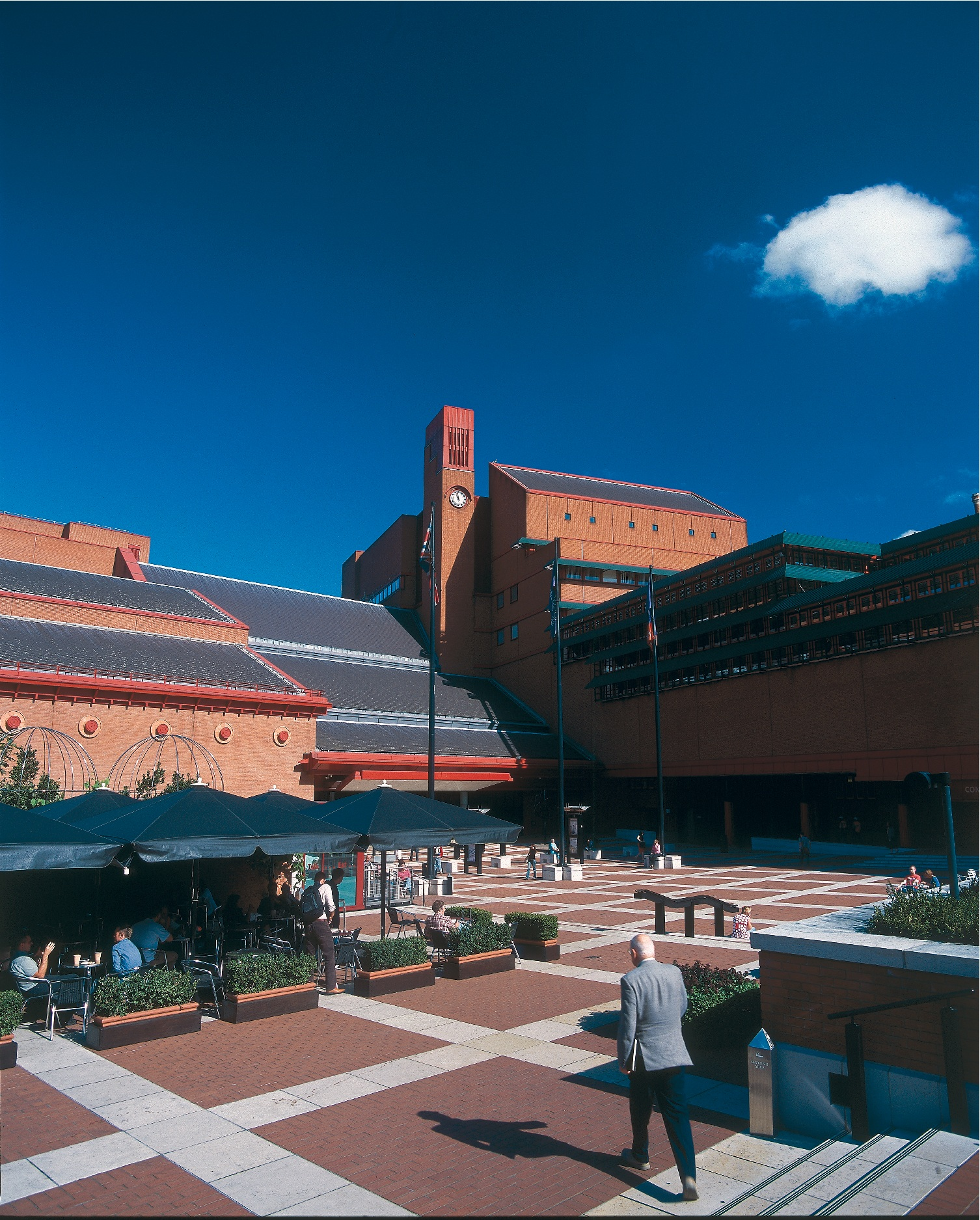 Photograph of the piazza outside the main entrance to the British Library at St Pancras London