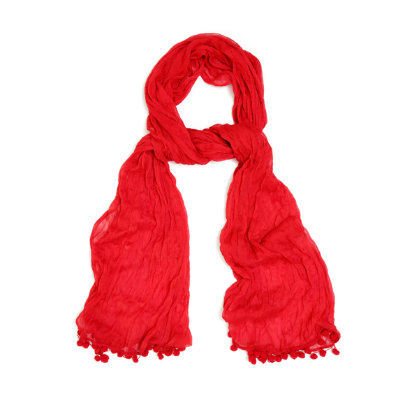 scarf red bobbles