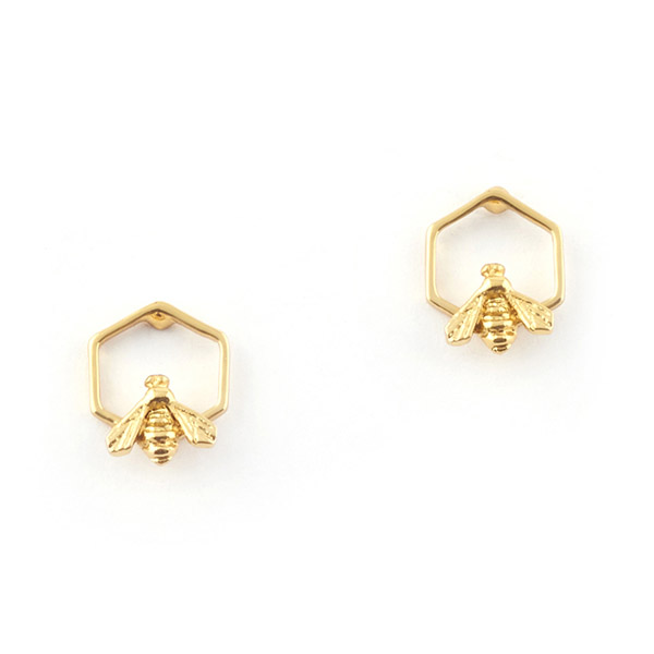 Hexagon Bee Stud Gold