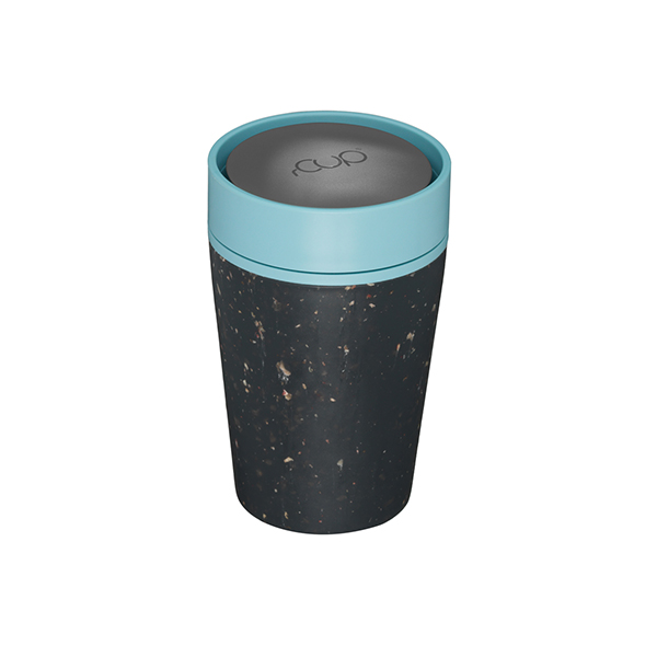 Reusable Coffee Cup 8oz Black and Teal