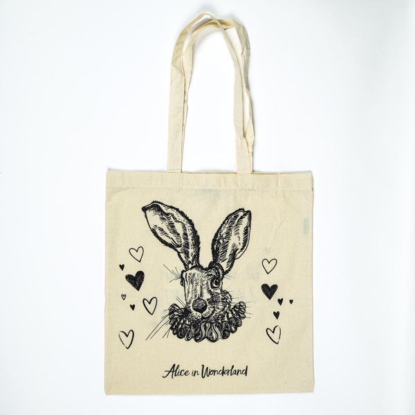 White rabbit tote front