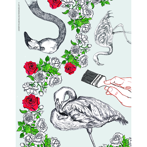Flamingo and Roses Print