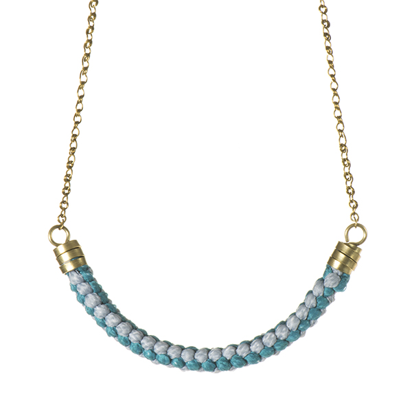 Rope Necklace Teal and Grey