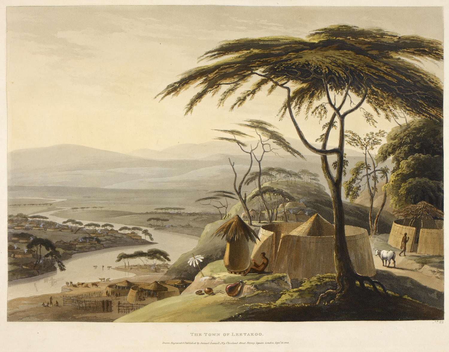 View of Dithakong, the Tlhaping capital in the northern Cape, South Africa, in 1801, by Samuel Daniell