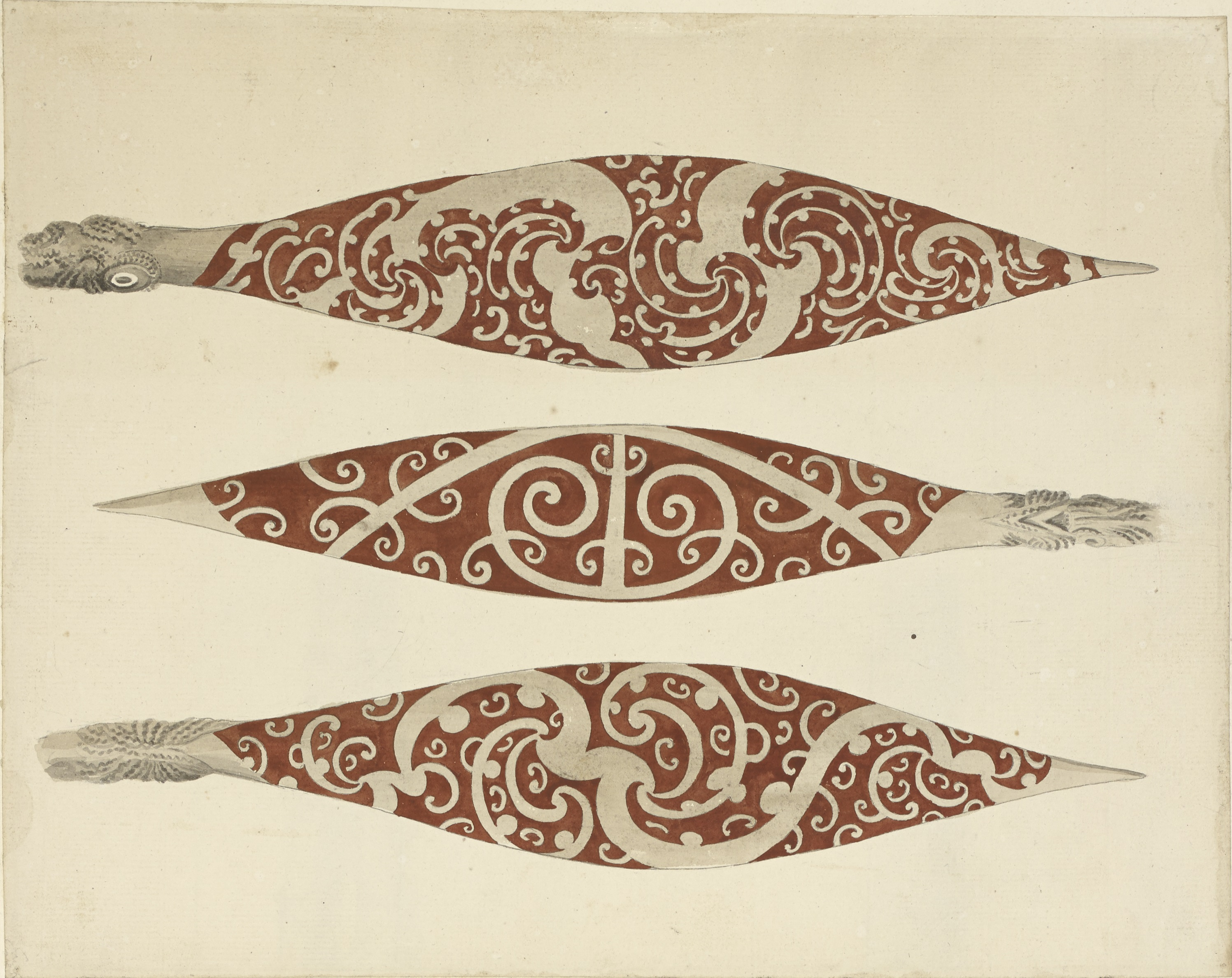New Zealand Paddles, from A Collection of Drawings made in the Countries visited by Captain Cook on his First Voyage, 1768-1771 (Add. 23920)