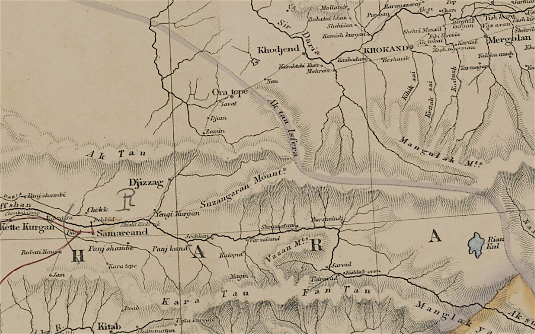 Detail from map of Turkestan illustrating the travels of Arminius Vambery in 1863 (Mss Eur F126/104)