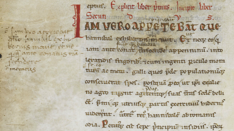 Livy 22.1, with corrections by Petrarch (interlinear) and Lorenzo Valla (marginalia). Harley MS 2493, f 105v. Italy and France (Avignon), late 12th century-c 1329.