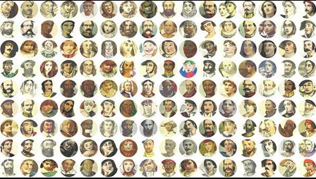 16 x 16 Colourful Faces from the British Library Collection