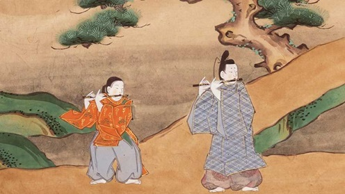 Two figures playing the flute from a coloured Japanese manuscript