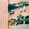 Sword fight between a young samurai and a monk on Gojo Bridge in Kyoto