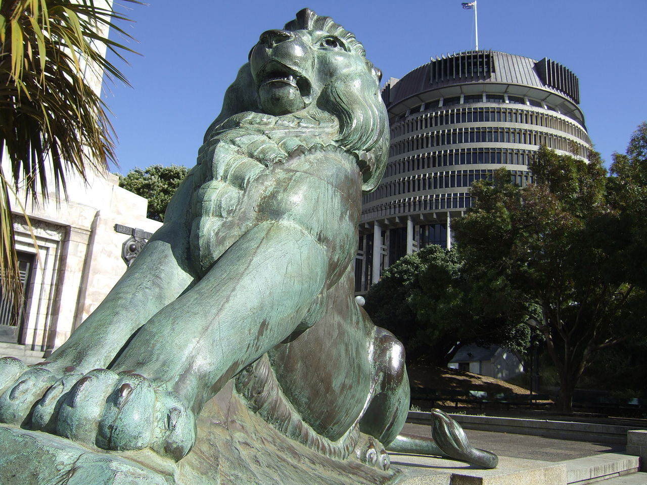 Lion statue in front of the Parliament Building, Wellington, New Zealand (The Beehive)