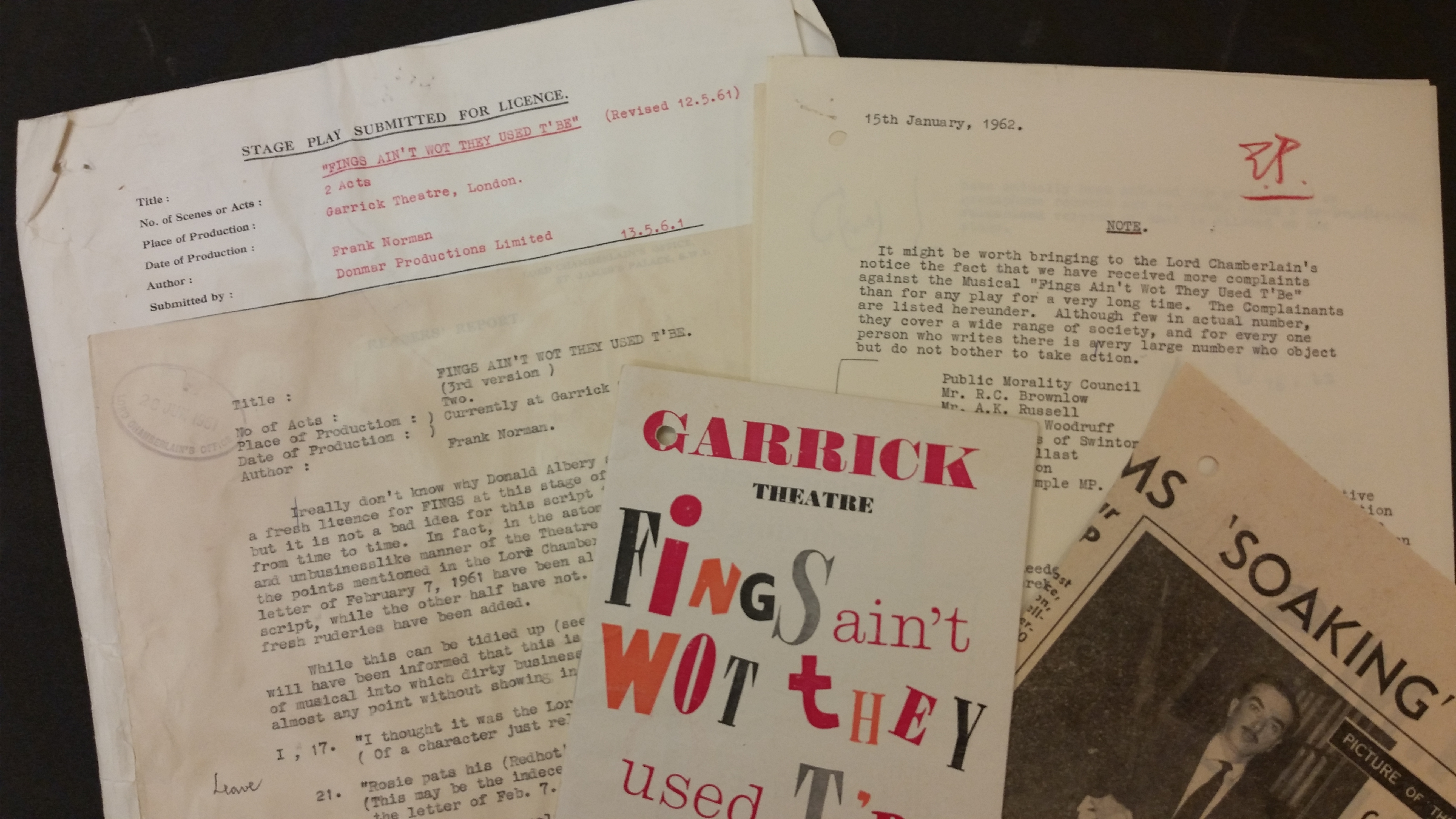 Typewritten and printed documents relating to the play, Fings Ain't Wot They Used T'be