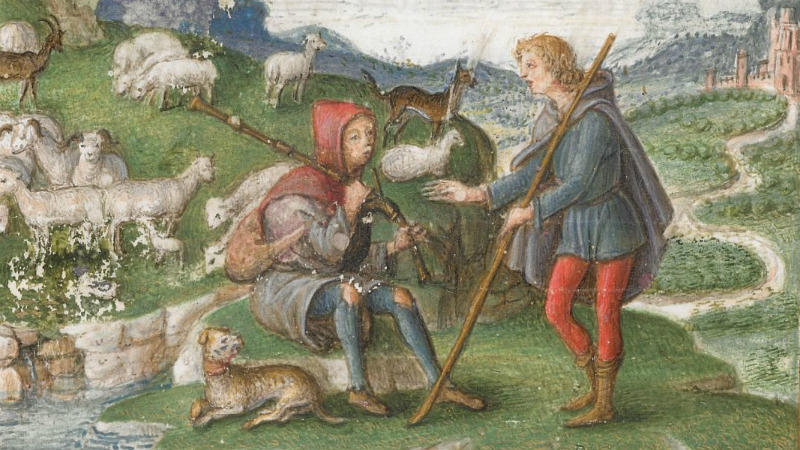 Detail of miniature of a scene from Virgil's Eclogues