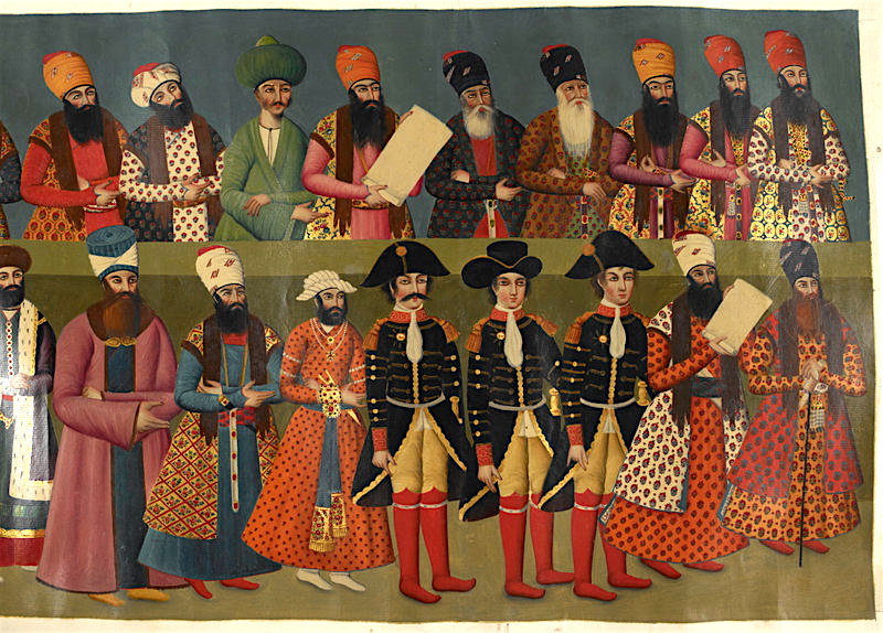Early British envoys to the Qajar Court from a contemporary copy of a fresco originally in the Negarestan Palace, Tehran (Add.Or.1241)