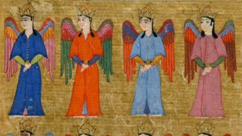 Angels standing, from a 16th century manuscript of <i>Acaib ul-mahlukat</i> 'Wonders Of Creation', translated by Sururi from Arabic (Add.7894, f.59v)