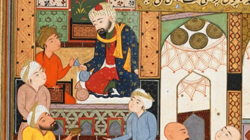 Poet Firdawsi gives away his paltry earnings to a bath attendant