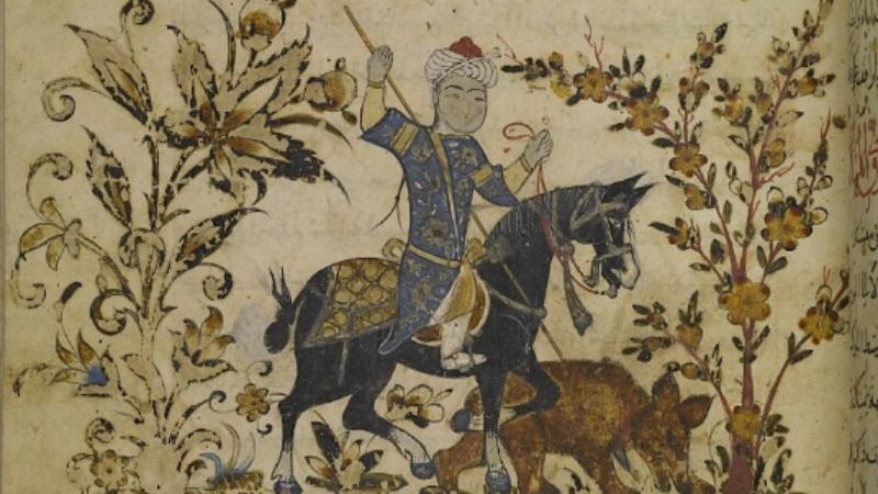 A horseman impaling a bear