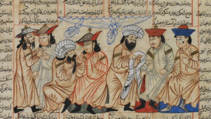 A prince or dignitary presenting poets with turbans of honour