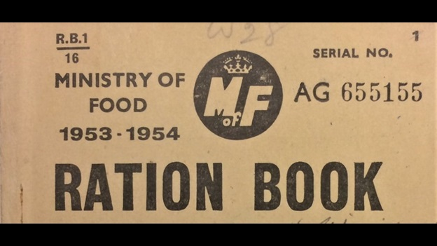 The image shows the front page of a ration book from 1953 to 1954 held in the Cooper family Papers at the British Library.