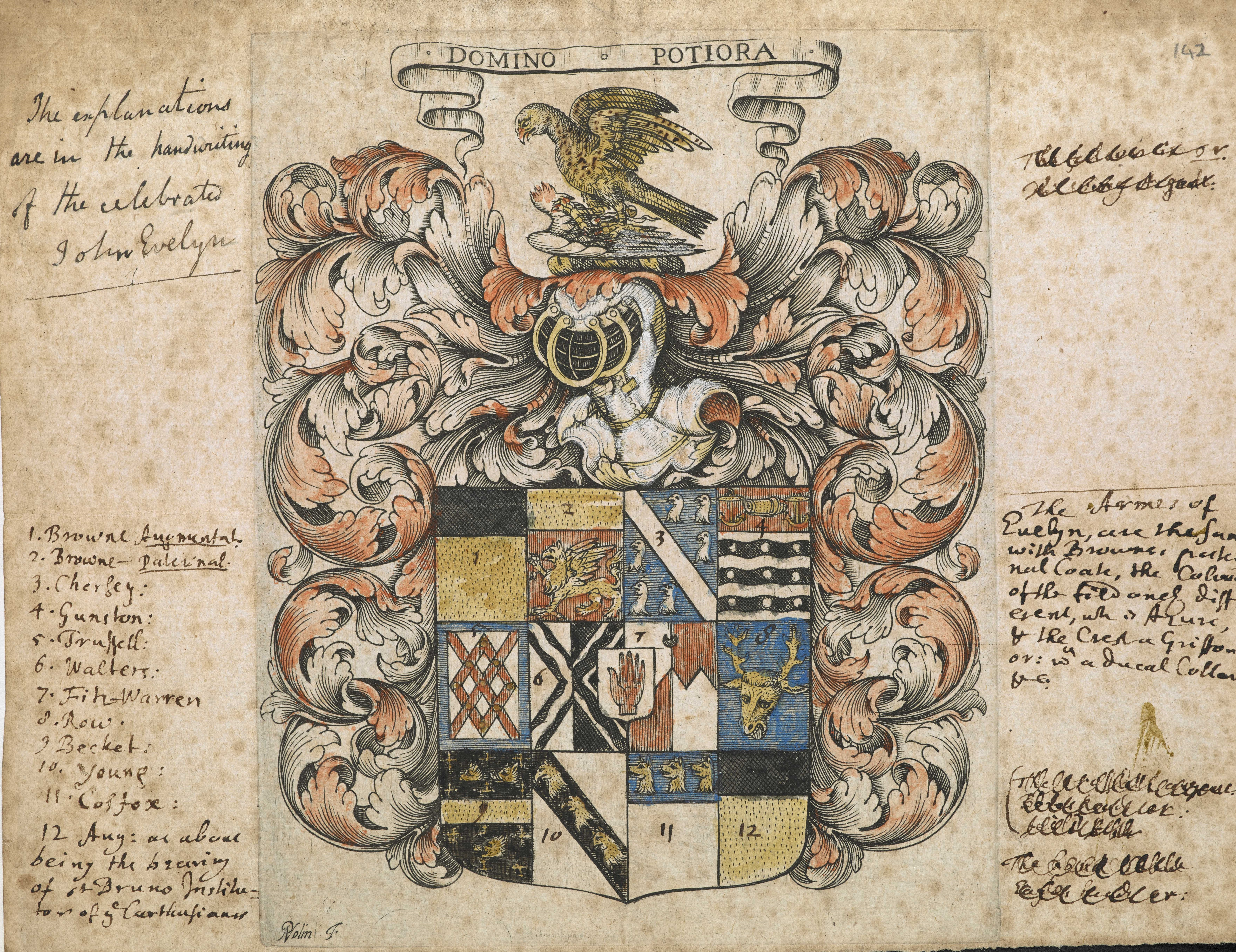 Evelyn family Arms, with manuscript notes by John Evelyn. Add MS 78351, f 142r.