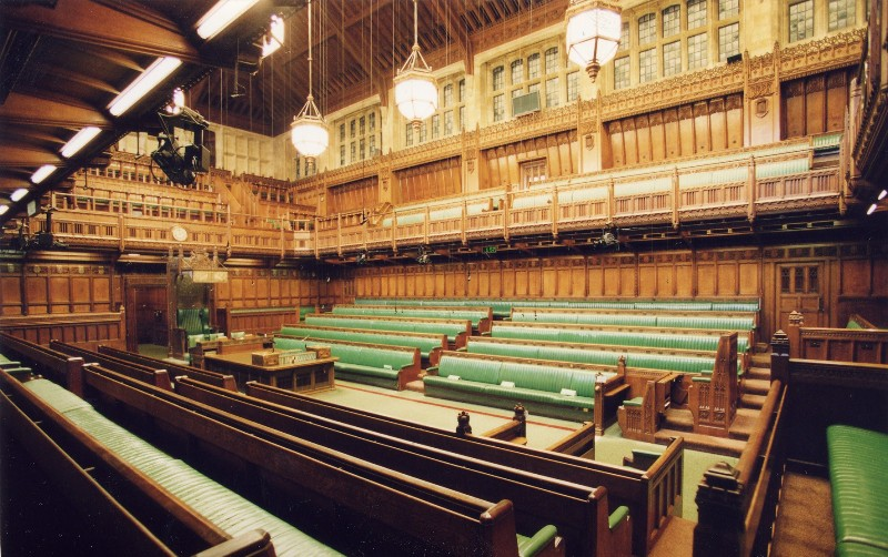 The debating chamber of the British House of Commons. Image courtesy of Parliament of the United Kingdom.