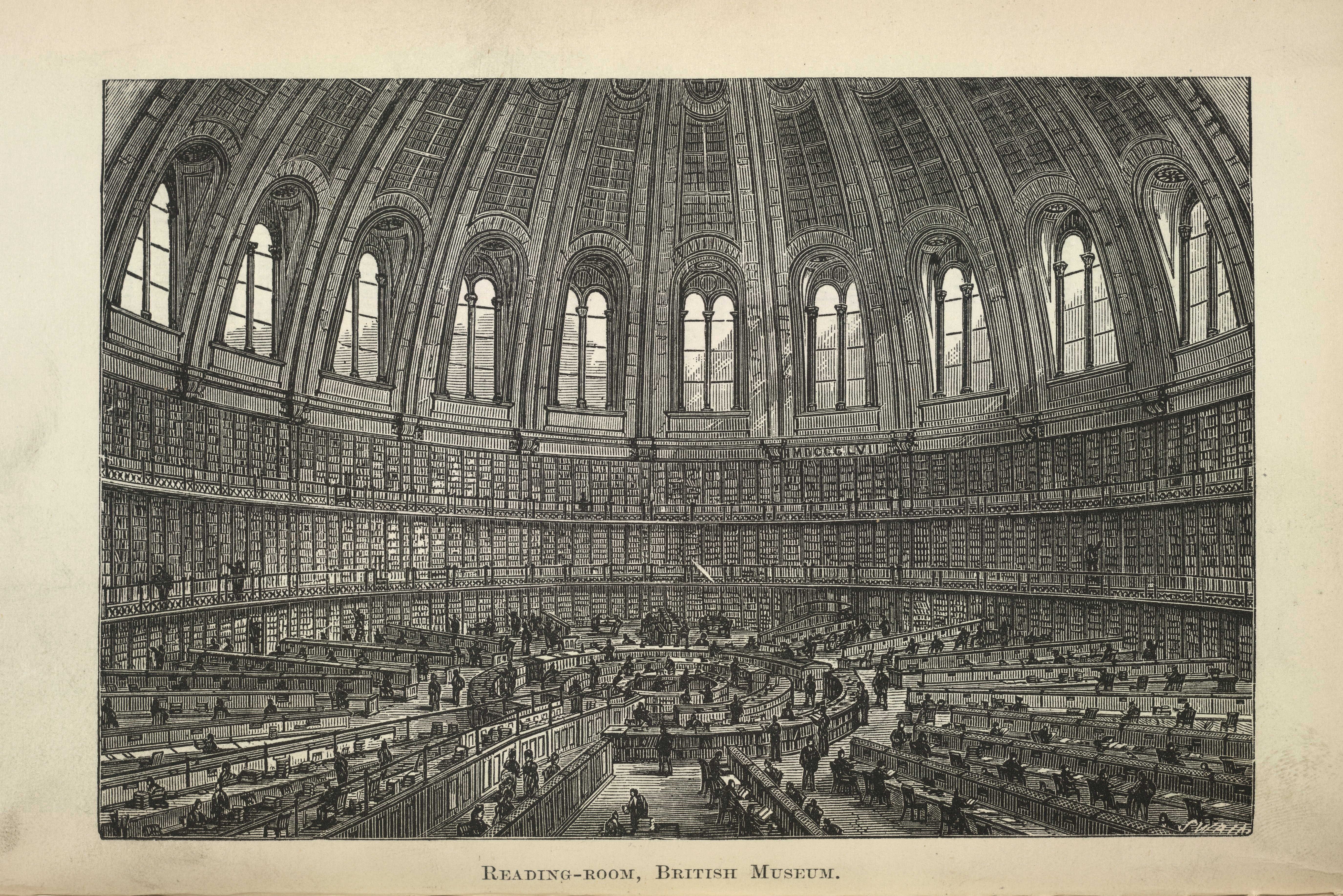 The Round Reading Room at the British Museum, from an illustrated plate in 'Free Public Libraries, their organisation, uses and management' by Thomas Greenwood, Simpkin, Marshall & Co.: London, 1886. British Library shelfmark 11902.b.52.