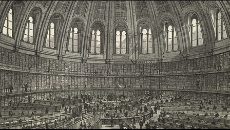 An engraved panoramic view of the Round Reading Room at the British Museum in Bloomsbury, London in the 19th century. It is published as an illustrated plate in 'Free Public Libraries, their organisation, uses and management' by Thomas Greenwood and published by Simpkin, Marshall & Co.: London, 1886. British Library shelfmark 11902.b.52.