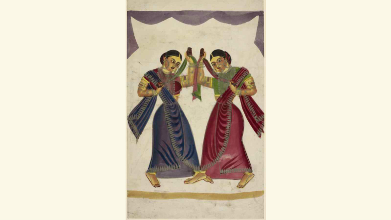 Two dancing-girls performing. Calcutta (India), c. 1865.