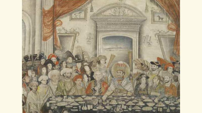 Ghazi al-Din Haidar entertaining Lord and Lady Moira