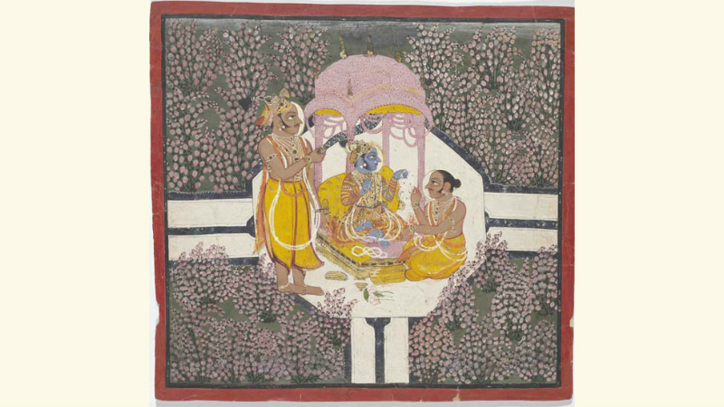 Rao Arjun Singh worshipping Sri Brijnathji in a rose garden