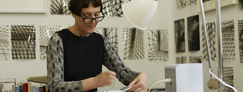 Cornelia Parker at work on Magna Carta (An Embroidery) – Photograph by Joseph Turp