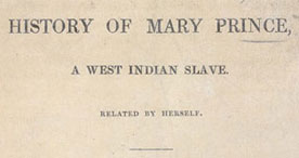 Title page of Mary Prince's biography