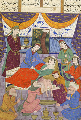 The birth and childhood of Rostam, IO Islamic 1256, f.52v