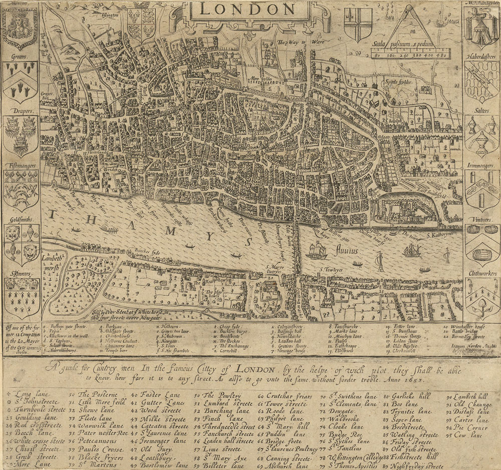 London 1600 Map.Early A Z Of London