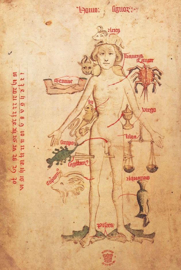 Medieval zodiac chart