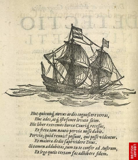 Image of a ship and a Latin poem from book on Henry Hudson ...