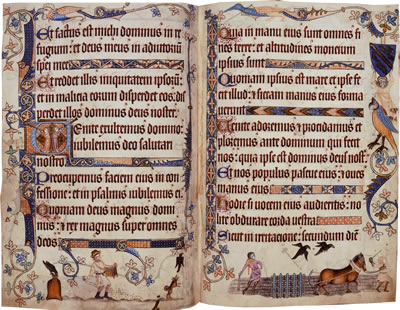 Image of The Luttrell Psalter- Pages 21 and 22