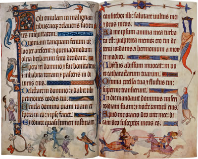 Image of The Luttrell Psalter- Pages 9 and 10