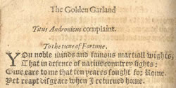 Titus Andronicus' Complaint. Richard Johnson, The Golden Garland of Princely Pleasures and Delicate Delights